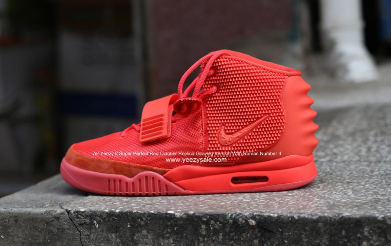 Air Yeezy 2 Super Perfect Red October Replica Glowing Version With Roman Number II AYCL000590