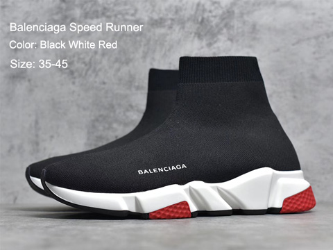 Balenciaga Speed Runner Black White Red In Stock Sale