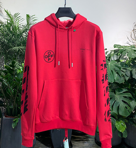 Off Red 19SS Diag Stencil Hoodie Hooded Sweatshirt High Quality Released