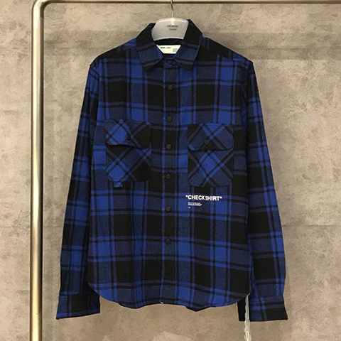 Off White 18FW Blue Grid Check Shirt High Quality OW Released