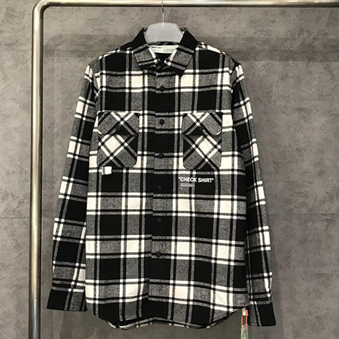 Off White 18FW Grey Grid Check Shirt High Quality OW Released