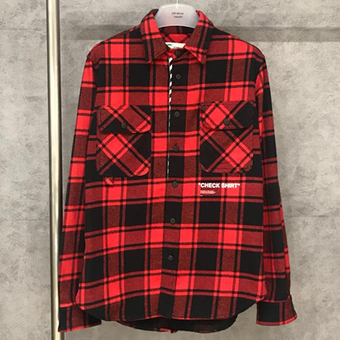 Off White 18FW Red Grid Check Shirt High Quality OW Released