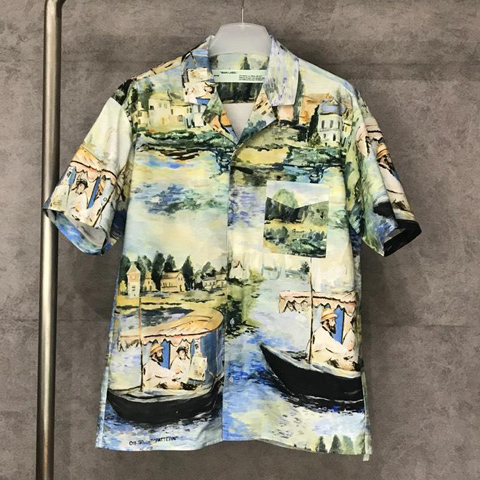 Off White 19ss Oil Painting Shirt OW High Quality Sale