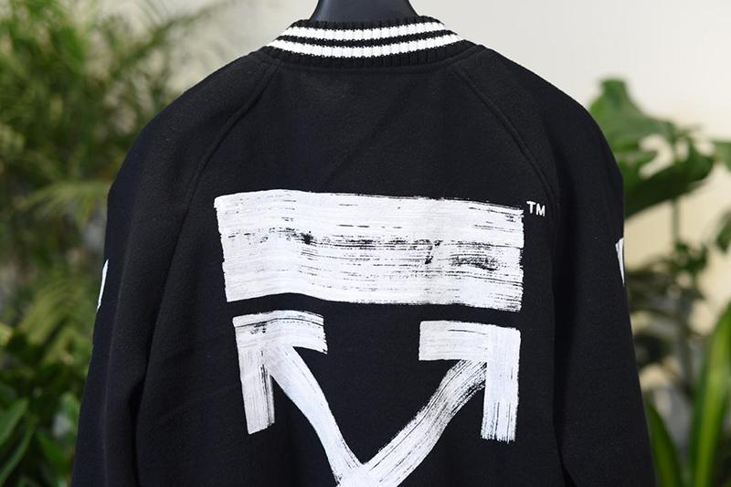 Off White 17FW Wool-Blend Varsity Jacket Online Sale