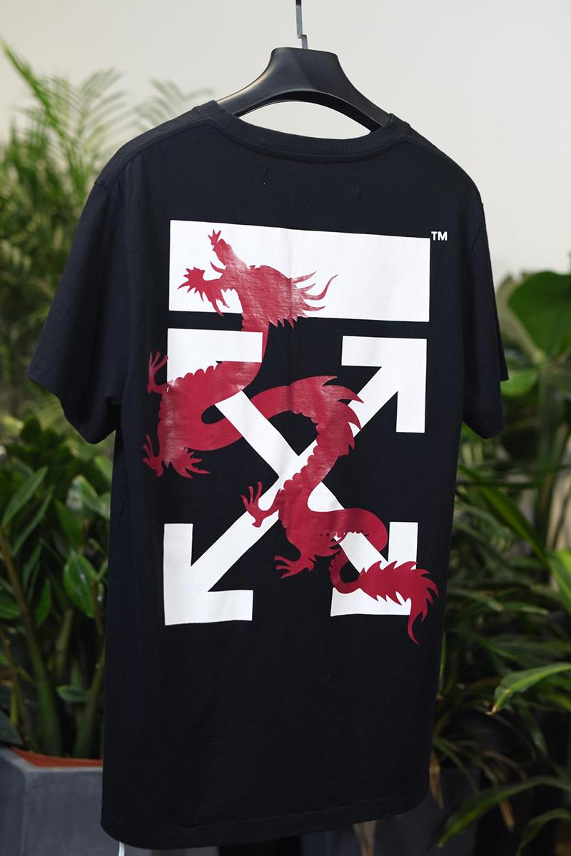 Off-White 19SS Dragon Print Black Macao Arrow T-shirt Online Sale