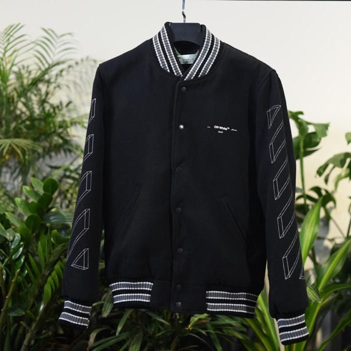 Off White 17FW 3D-Striped Wool-Blend Varsity Jacket Online Sale