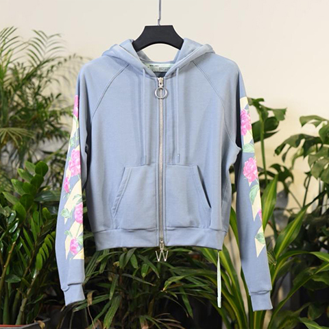 Off White 18SS Female Light Blue Peony Pattern Zipper Hoodie Sweatshirts Online Sale