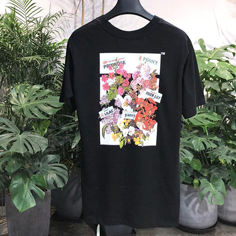 Off White 18SS Flower Print Tee Shirt Online Sale