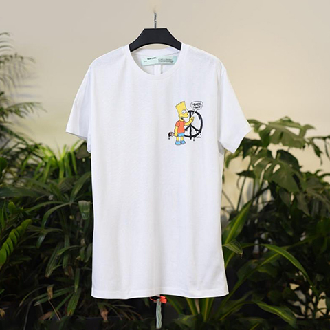 Off White 19SS Bart Simpson Graphic Print Black logo T-Shirt Sale