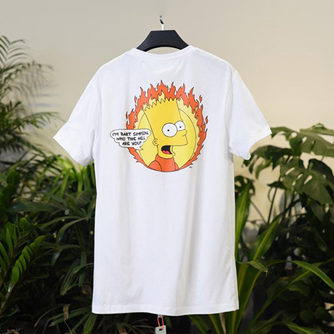 Off White 19SS Bart print logo Simpsons Flame T-Shirt Online Sale
