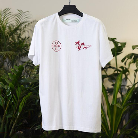 Off-White 19SS Dragon Print White Macao Arrow T-shirt Online Sale