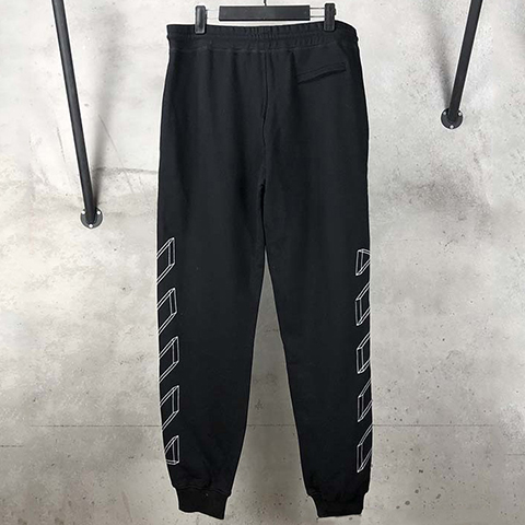 Off White 19SS logo-print Black Outline Pants CD Sale
