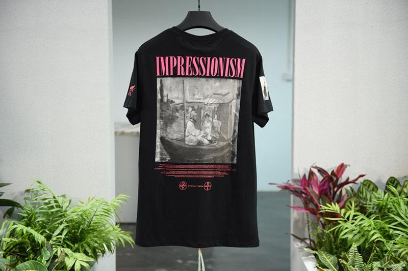 Off-White 19SS Black 99 Logo Print Monet Cruise Tee Shirt For Sale