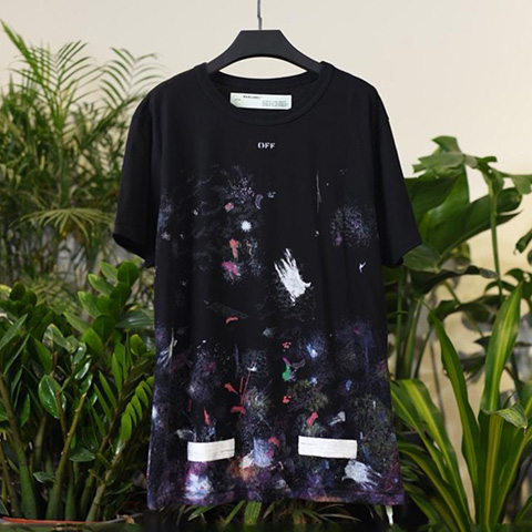 Off White 17FW Galaxy Fireworks Tee Shirt For Sale
