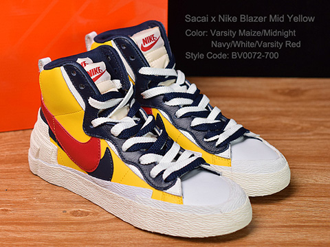 Sacai X Blazer with Dunk Mid Yellow Version Released