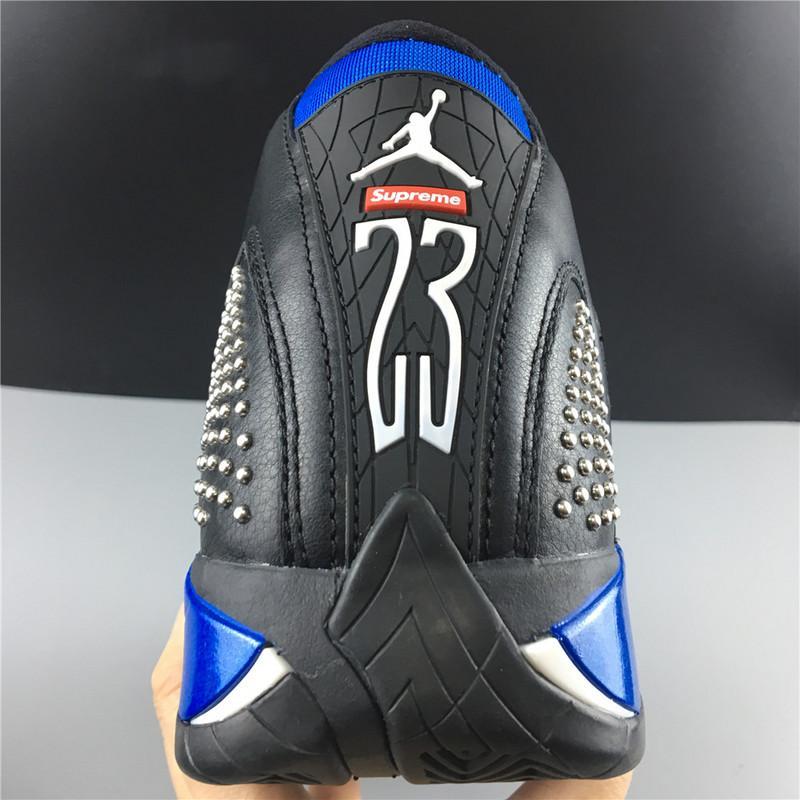 Supreme x Air Jordan 14  Black Varsity Royal Chrome Online Sale