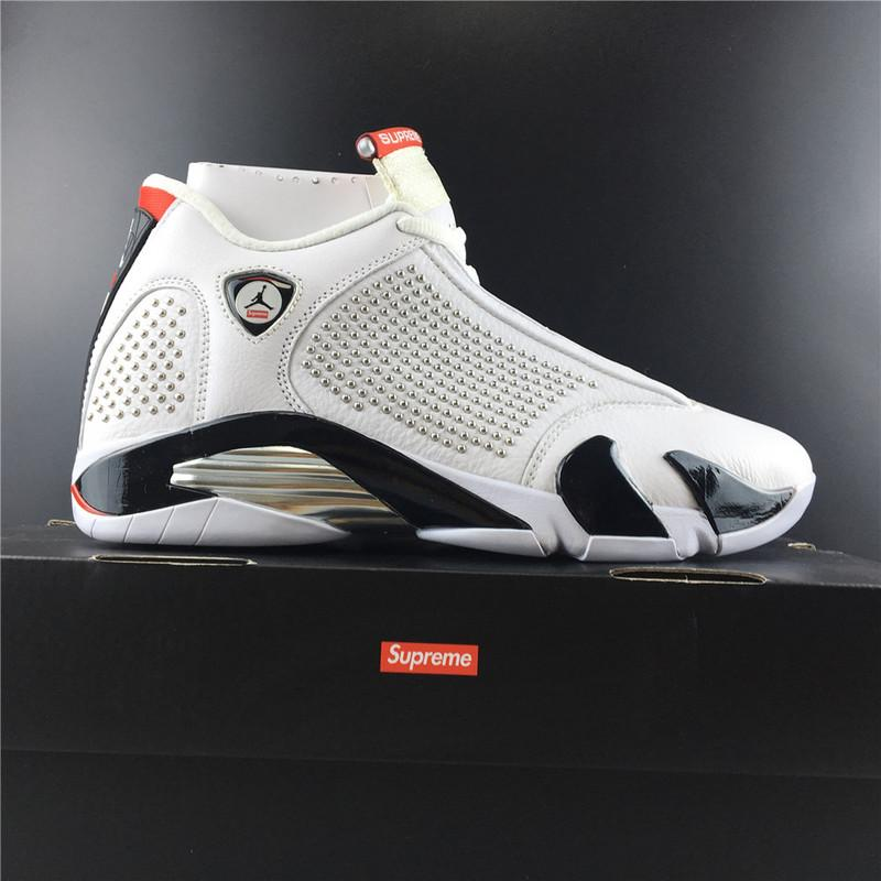 Supreme x Air Jordan 14 White University Red Released