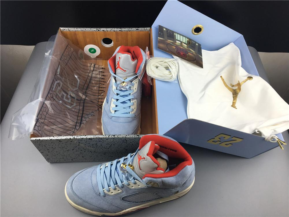 Trophy Room x Air Jordan 5 Ice Blue High Quality Version