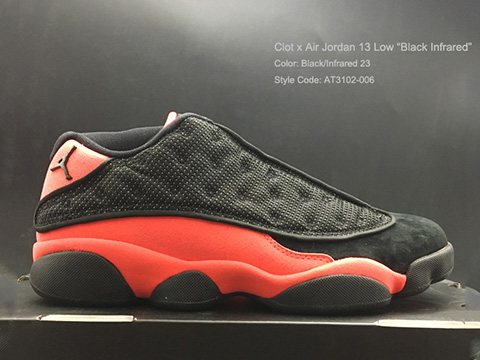 Clot x Air Jordan 13 Low Black Infrared Released