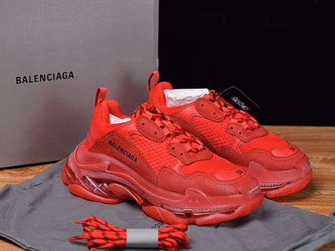 Balenciaga Triple S Clear Sole Trainers Red Color Sale Online