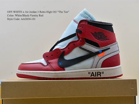OFF WHITE Air Jordan 1 Chicago Retro High OG The Ten AA3834-101